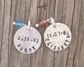 Hand stamped charm 1/2 inch tasty tag sterling silver custom ONE charm with sweet birthstone crystal drop