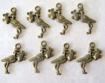 Bronze Stork Carrying Baby Charms - Set of 10 - 24x19mm