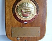 1950's United Airlines 100,000 Mile Club Plaque Award Blank Sample , Not engraved very rare find United Airlines Award Wallhanging Airplane