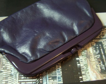 Vintage Italian Leather Clutch Midnight Blue Kid Leather  late1970 to early 1980 Disco Fashion Revival Made in Italy Label