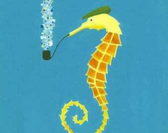 Nursery art. Seahorse print.