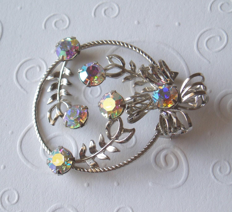 Vintage Brooch Pin Silver Flower modern jewelry fall accessory
