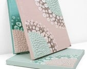 Art for Girls Room - Textured Flower Paintings - Set of Three Canvas Wall Art - Pink and Teal Nursery - Medium 32x10