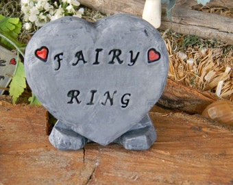 FAIRY  RING Garden  Sign Heart Slate  Sign..    miniature ceramic sign Stepping stone