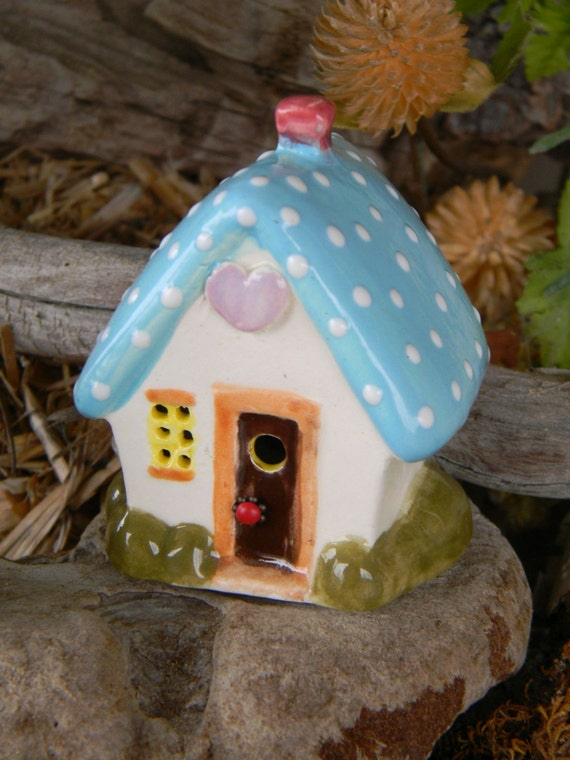 Ceramic  House Terrarium   Miniature  .. Toad House , Fairy or Gnomes can live here. Ceramic Christmas tree in back