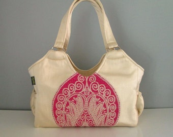 SALE - Large Shoulder Handbag  - luxe cream and orchid shoulder bag with applique embellishment