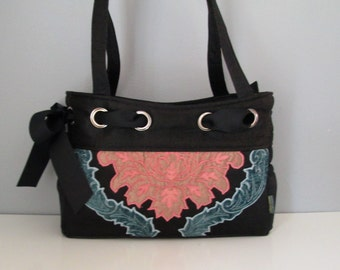 Large Shoulder Bag - Handmade Handbag in luxe black fabric with applique embellishment