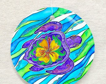 Hibiscus Turtle Ornament and Suncatcher