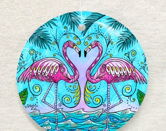 Flamingo Love Ornament and Suncatcher