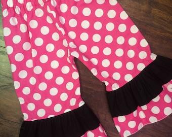 Pink polka dot ruffle pants