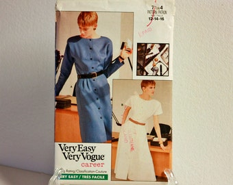 Very Easy Very Vogue Dress pattern 7144 size 12,14,16 uncut vintage sewing pattern