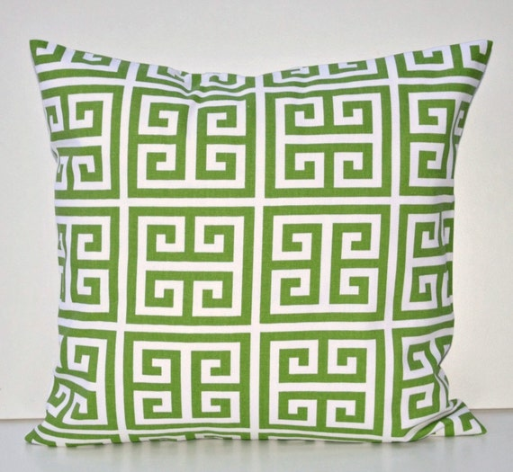Green Towers Decorative Toss Pillow Cover White Kelly Green
