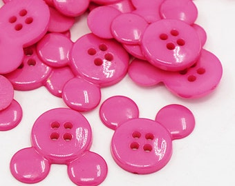 Mickey Mouse Buttons - Set of 25 - Pink - #BUTTON201