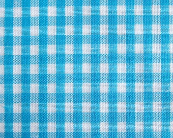 Japanese Fabric - Gingham Fabric in Blue - Cotton Fabric - Half Yard