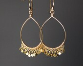 Tiny Sequin Teardrop Earrings in Gold Filled or Sterling Silver