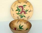 Mid Century Italian Crystal Serving Bowl & Platter Set: Cherries, Reverse Painted, Multiple Languages