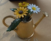 Cute Vintage Enamel Flowers, Gold tone Watering Can Collectible