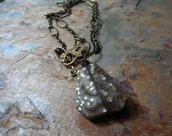 Natural Gemstone Pendant Necklace, Antiqued Brass, Rustic Jewelry, Gifts under 50, Brown, White, Olive