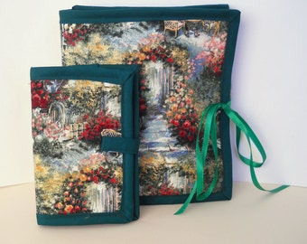 Impressionist Garden Sewing Caddy, Needle Book, Hand Sewing Organizers