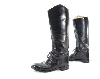 Vintage Riding Boot, Size 6 Women, Black Leather Boot, Equestrian Boot, Laced Leather Boot, Leather Dressage Boot, Tall Black Boots Size 6