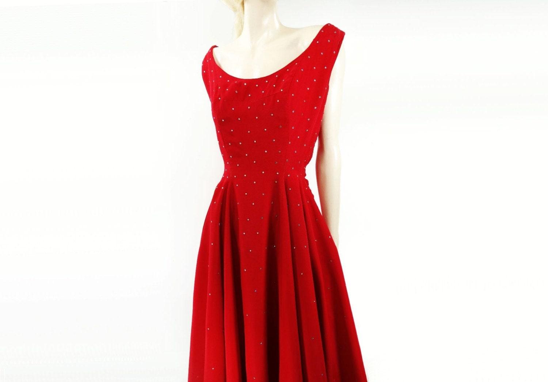 Ann es 50 robe rouge robe strass ann es 50 robe party dress - Robe des annees 50 ...
