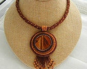 Woodgrain Picture Jasper Bead Embroidered Fringe Necklace~Pendant Necklace~Fringed Necklace~Boho Necklace~Autumn Necklace~Japser Necklace