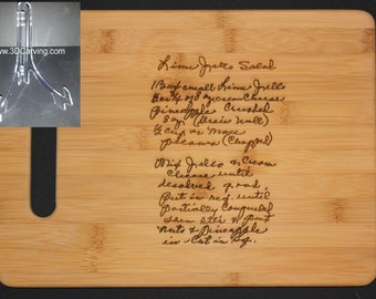 Recipe scanned from Mom's or Grandma's handwriting - Bamboo Cutting Board with Laser Engraved Recipe -Personalized  11 x 8.5 + Acrylic Stand