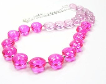 Pretty In Pink Collection - Hot Pink Beaded Statement Necklace - Pink Glass Coin Chunky Necklace