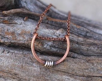 Mini Crescent Necklace, Oxidized Copper with Silver Accent, Minimalist, Wire Jewelry