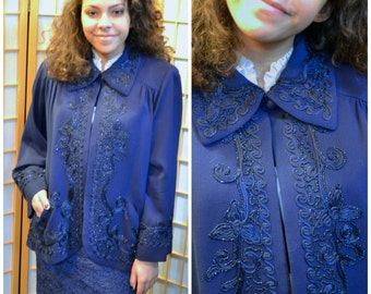 40s dark blue beaded swing coat / jacket womens size medium