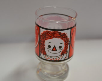 "1972 raggedy Ann and Andy  ""I love you""  juice / drinking glass"