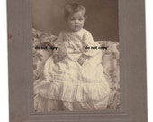 beautiful baby in white gown,  cabinet card photo