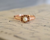 ANTIQUE PEARL VICTORIAN era antique vintage solitaire 14k rosegold ring circa 1880 size 6.25