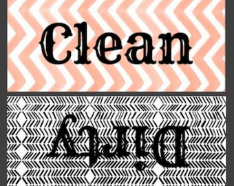 Peach and Gray Clean/Dirty Dishwasher Magnet
