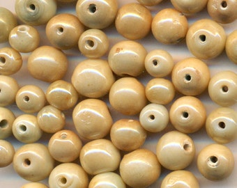 Vintage 100 Handmade Lamp Work Gorgeous Champagne Luster 6-9.5mm  Glass Round Beads Q1L