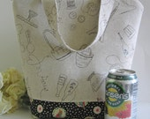 Japanese linen Paris, sewing and cooking print  / Insulated Lunch Bag / lunch Tote / reusable / lunch bag / extra tall