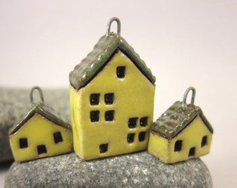 Yellow Cottages...Set of Stoneware House Pendant and Earrings