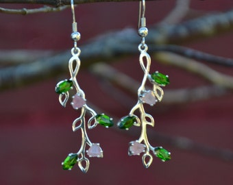 Dangle Earrings in Sterling Silver, Chrome Diopside and Rose Quartz Spring