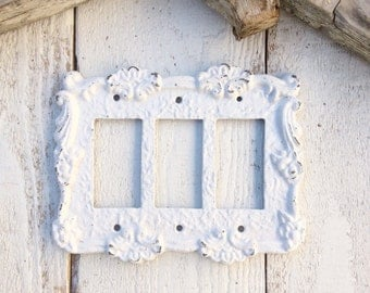Metal Wall Decor, Light Switch Cover, Triple Rocker Switch Plate, Light, Heirloom Creamy White, STYLE 113