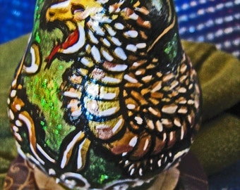 Painted gourd, feathered serpent, Aztec Quetzalcoatl, impressionistic painting, geekery