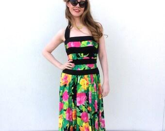 Vintage Dress 1960s Dress Black Dress Floral Dress Full Circle Skirt Halter Dress Size Small Dress Lillie Rubin Dress Colorful Dress