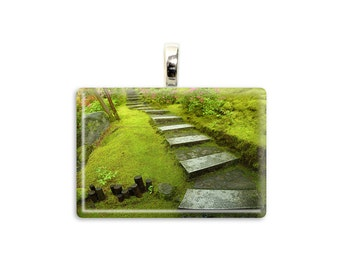 "Nature Jewelry ""Zen Path"" Zen Photo Pendant Portland Photo Necklace Japanese Garden Photo Jewelry Zen Pendant Zen Jewelry Zen Necklace"
