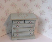 French country Chest, Chest  of drawers, duck egg blue,  hand painted,  Twelfth scale dollhouse miniature