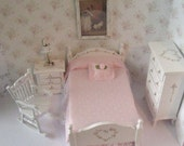 Dollhouse bedroom,Single bedroom, Tatty chic bedroom, roses ,, roses,  Bedroom set, dollhouse miniature in twelfth scale