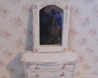 Dollhouse Chest of drawers, mirror, mirrored chest,  tatty chic drawsers, twelfth scale, dollhouse miniature