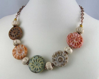 Rustic Earth Tone Flowers Necklace, polymer clay beads & antiqued copper chain, mixed media fall colors jewelry