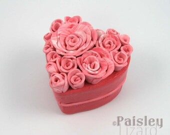 Bashful Pink Rose Heart keepsake box, mixed media jewelry box