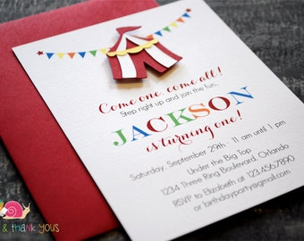 Circus Tent Invitations · A2 FLAT · Birthday Party   Baby Shower   Carnival