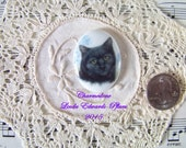 Cute as can be black cat  with blue flowers cameo vertical 40x30 hand applied porcelain fired decal ECS