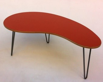 Kidney Bean Shaped Mid Century Modern Coffee Or Cocktail Table In Your Choice Of Laminate